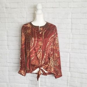 Chico's long sleeve sequins V-Neck Blouse